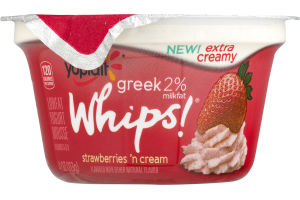 Yoplait Whips! Greek 2% Milkfat Lowfat Yogurt Mousse Strawberries 'n Cream
