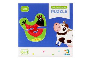 Пазл для дітей від 18міс №300152 Домашні тварини 2-3-4 елементи Dodo 18ел