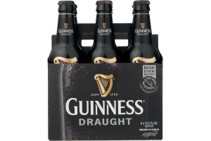 Guinness Draught Beer Bottles - 6 CT