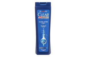 Шампунь и бальзам-ополаскиватель для волос против перхоти мужской 2в1 Classic Action Clear 250мл