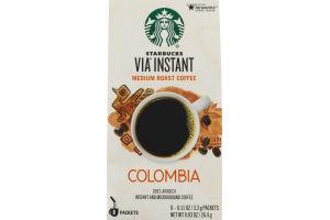 Starbucks Via Instant Colombia Medium Roast Coffee - 8 CT