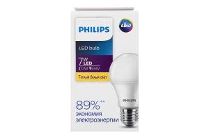 Лампа светодиодная LED 7W E27 3000K Philips 1шт