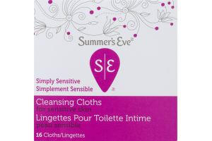 (CN) Summer's Eve Simply Sensitive Cleansing Cloths - 16 CT, Summer's Eve Simplement Sensible Lingettes Pour Toilette Intime - 16 CT