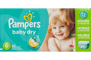 Pampers Baby Dry Diapers Size 6 - 96 CT