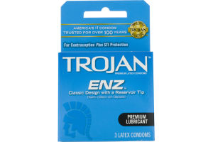 Trojan ENZ Premium Lubricant Latex Condoms - 3 CT
