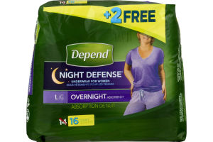 Depend Night Defense Underwear For Women Overnight Absorbency Large - 14 CT