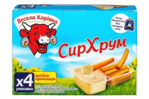 Сир плавлений 45% з хлібними паличками СирХрум Весела корівка к/у 140г
