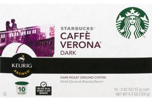 Starbucks Caffe Verona Dark Roast Ground Coffee K-Cups - 10 CT