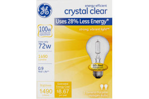 GE Lightbulbs Crystal Clear 72W - 2 CT