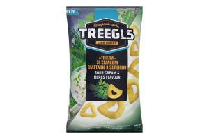 Сніданки сухі Трігли зі смаком сметани з зеленню Corn snacks Treegls м/у 150г
