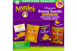 Annie's Homegrown Organic Bunny Snacks Variety Pack Baked Snack Crackers & Graham Snacks - 36 CT