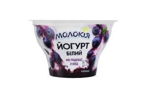 Йогурт 5.7% білий на подушці з ягід Чорниця Молокія ст 140г
