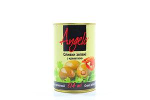 Оливки Angelo зелені з креветкою 314мл х12