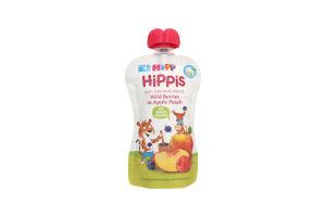 Пюре для дітей від 4міс Яблуко Персик Чорниця Малина Hippis Hipp д/п 100г