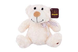 Игрушка мягкая для детей от 3лет белая с бантом 25см №2503GMB Медведь GranD 1шт