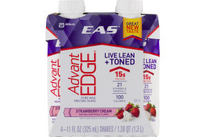 EAS Advant Edge Pure Milk Protein Shake Strawberry Cream - 4 CT