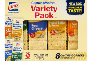 Lance Captain's Wafers Variety Pack Cracker Sandwiches - 8 PK