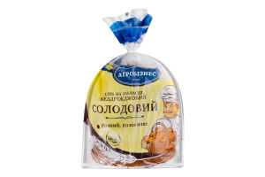 Хлеб на закваске бездрожжевой половинка в нарезке Солодовый Агробізнес м/у 0.35кг