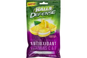 Halls Defense Sugar Free Creamy Lemon Dietary Supplement Drops - 17 CT