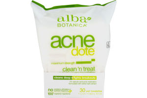 Alba Botanica Acne Dote Clean 'N Treat Daily Cleaning Towelettes Maximum Strength - 30 CT