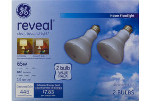 GE Reveal Indoor Floodlight 65W Bulbs - 2 CT