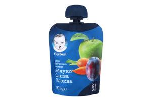 Пюре для дітей від 6міс Яблуко, слива, морква Gerber д/п 90г