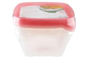 Набор пищевых контейнеров квадратных №82248 Пластторг 3шт