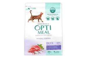 Корм сухой с уткой для взрослых котов с эффектом выведения шерсти Optimeal м/у 200г