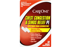 CareOne Chest Congestion & Sinus Relief PM Immediate Release Caplets Expectorant/Nasal Decongestant - 50 CT