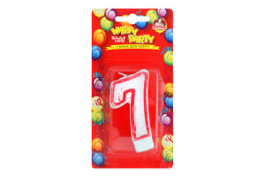Свічка-цифра для торту глазурована 7.5см №P52-618/7 Happy Party Помічниця 1шт
