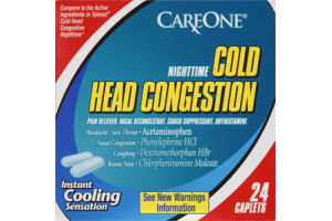 CareOne Nighttime Cold Head Congestion Caplets - 24 CT