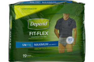 Depend Fit-Flex Underwear For Men Maximum Absorbency S/M - 19 CT