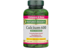 Nature's Bounty Calcium 600 With Vitamin D3 Tablets - 250 CT