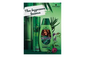 Набір шампунь для нормального та жирного волосся 7 трав Schauma 400мл+лак для волосся сильна фіксація True volume Taft 250мл 1шт