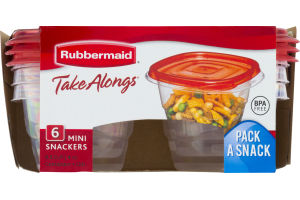 Rubbermaid Take Alongs Mini Snackers Containers + Lids 0.5 Cup - 6 CT