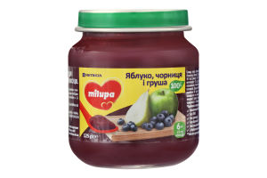 Пюре фруктовое для детей от 6мес Яблоко, черника и груша Milupa с/б 125г