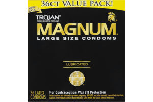Trojan Magnum Lubricated Large Size Premium Latex Condoms - 36 CT