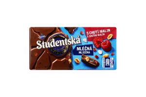Шоколад молочний з арахісом, желейними та малиновими шматочками Studentska м/у 180г
