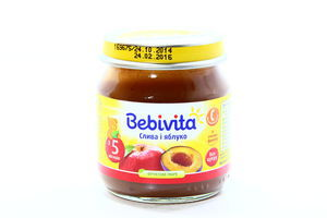Пюре для детей от 5мес Слива и яблоко Bebivita с/б 100г