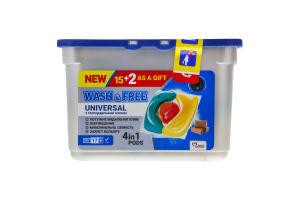 Средство для стирки в виде капсул с хозяйственным мылом Universal Wash&Free 17шт