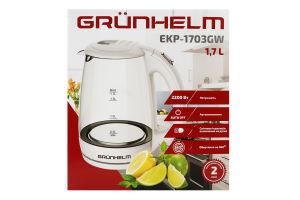 Електрочайник GRUNHELM EKP-1703GW скляний (білий) 1,7л, дисковий 2200 Вт