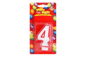Свічка-цифра для торту глазурована 7.5см №P52-618/4 Happy Party Помічниця 1шт