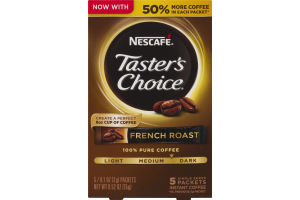 Nescafe Taster's Choice Single Serve Instant Coffee Packets French Roast - 5 CT
