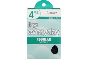 L'eggs Everyday Regular Pantyhose B Sheer Toe Off Black - 4 CT