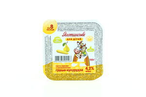 Паста творожная Яготинское для детей груша-кукуруза 4,2% п/б 100г