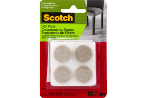 Scotch Self-Stick Floor Care Pads Grey - 12 CT