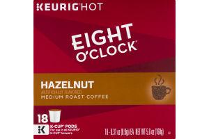 Eight O'Clock Hazelnut Medium Roast Coffee K-Cup Pods - 18 CT