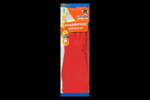 Рукавички латексні з довгим манжетом колір червоний розмір L Добра Господарочка 1пара