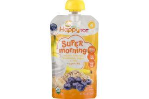 HappyTot Organics Super Morning Organic Bananas, Blueberries, Yogurts & Oats + Super Chia
