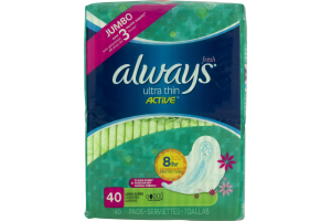 Always Fresh Ultra Thin Active Pads Long Super - 40 CT